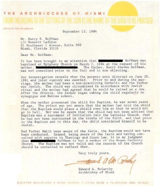 Catholic Church Annulment Example Letter